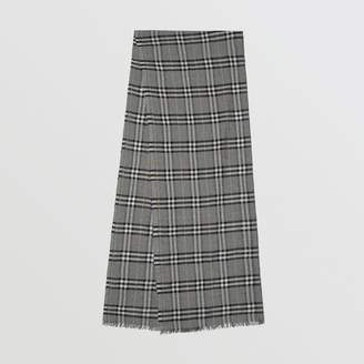 Burberry Metallic Vintage Check Wool Silk Blend Scarf, Grey
