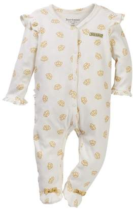 Juicy Couture Crown Foil Print Ruffle Bottom Footie (Baby Girls)