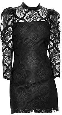 Sandro Women's Puff Sleeve Lace Mini Dress