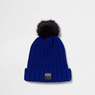 River Island Boys blue faux fur bobble beanie hat
