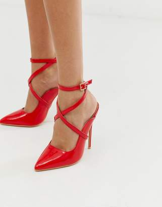 b2fa43e083c3a Lost Ink Tyra ankle strap heeled court shoe in red