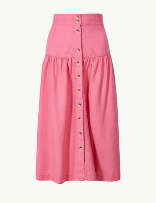 Marks and Spencer Linen Rich Button Detailed A-Line Midi Skirt