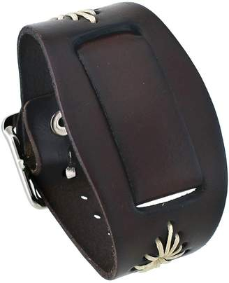 Nemesis #BF-B Women's Flower Emblem Brown Leather Cuff Watch Band