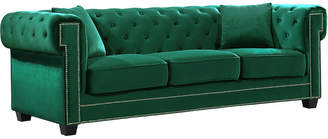 Verlaine Bowery Green Velvet Sofa