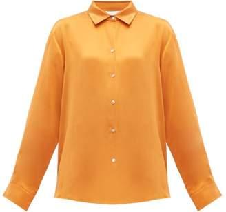 Asceno - Button Down Sandwashed Silk Pyjama Top - Womens - Orange