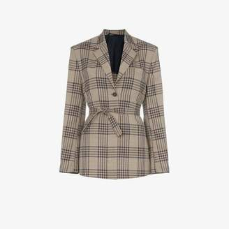 Wright Le Chapelain Weekend check print tie waist blazer jacket