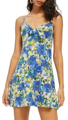 Topshop Heavy Petal Knot Front Mini Dress