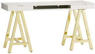 Pottery Barn Teen Customize-It Project Desk Top Metal Legs, Simpley White with Gold Base