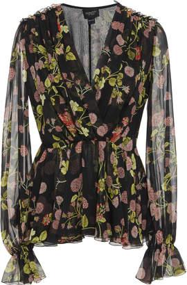 Giambattista Valli Pintucked Floral-Print Silk-Chiffon Blouse
