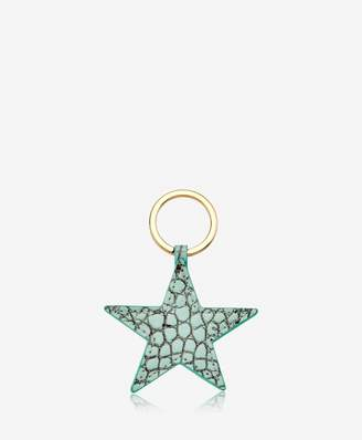 GiGi New York Star Keychain Crocodile Embossed Leather