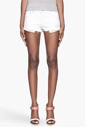 Rag and Bone RAG & BONE Off-white tattered The Mila Shorts