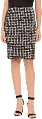 St. John Contrast Shine Dash Knit Pencil Skirt