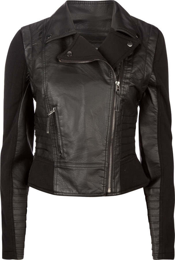 Ashley Pintuck Faux Leather Womens Moto Jacket
