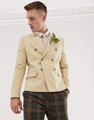 BEIGE Asos Design ASOS DESIGN wedding slim crop double breasted blazer in
