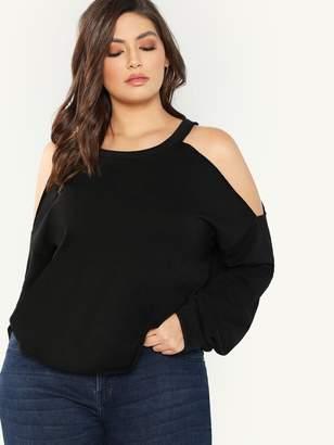 Shein Plus Open Shoulder Sweatshirt
