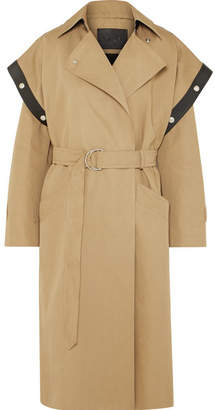 Givenchy Belted Leather-trimmed Cotton And Linen-blend Trench Coat - Beige