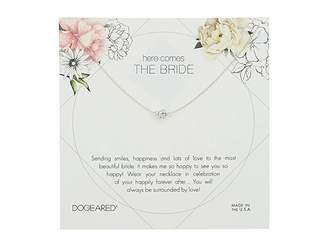 Dogeared Here Comes the Bride Flower Card Pave Sparkle Ball Necklace