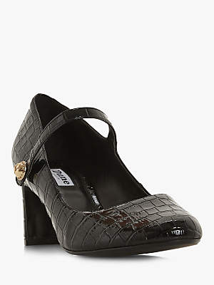 Dune Anntoinette Block Heel Court Shoes, Black Croc Patent