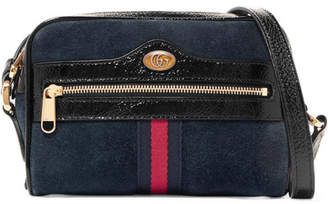 Gucci Ophidia Patent Leather-trimmed Suede Shoulder Bag - Navy