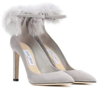 Jimmy Choo South 100 fur-trimmed suede pumps