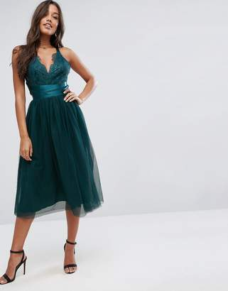 Asos DESIGN PREMIUM Lace Top Tulle Midi Prom Dress with Ribbon Ties