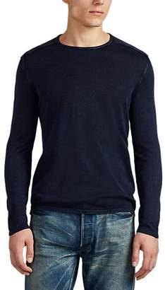John Varvatos Men's Washed Cotton Sweater - Blue
