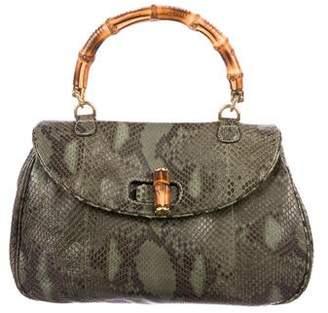 Gucci Python Heritage Bamboo Top Handle Bag