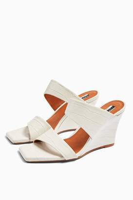 Topshop Womens Rellik Wedge Mules - Off White