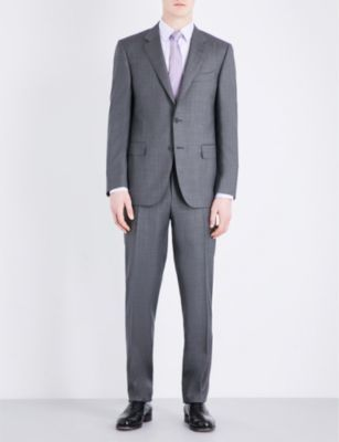Canali Canali Micro-geometric pattern regular-fit wool suit