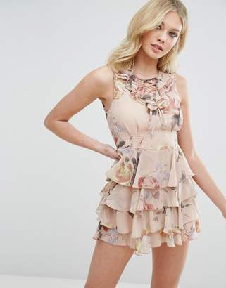 Missguided Floral Print Lace Up Ruffle Dress