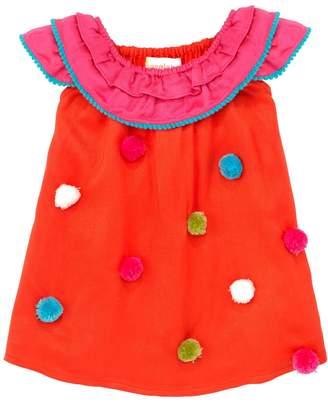 Masala Baby Pompom Ruffle Dress - Orange, Size 3-6m