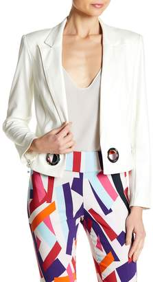 Insight Cracked Faux Leather Grommet Blazer