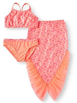 Wonder Nation Mermaid Bikini Swimsuit and Skirt Coverup, 3-Piece Set (Little Girls & Big Girls)