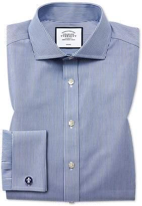 Charles Tyrwhitt Slim Fit Cutaway Non-Iron Bengal Stripe Navy Cotton Formal Shirt Single Cuff Size 15/32