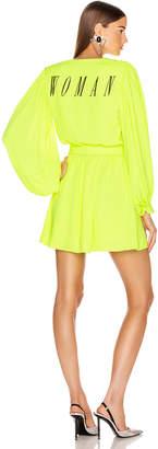Off-White Off White 80's Mini Dress in Fluo Yellow & Black | FWRD