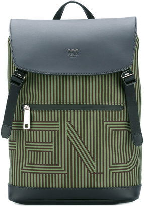 striped logo backpack - men - Leather/Nylon - One Size