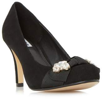 Dune Black 'Beaches' Jewel Trim Round Toe Court Shoes