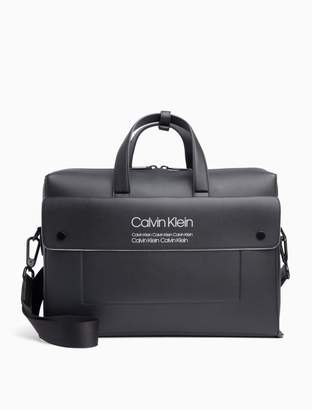Calvin Klein Repeating Logo Zip Laptop Bag