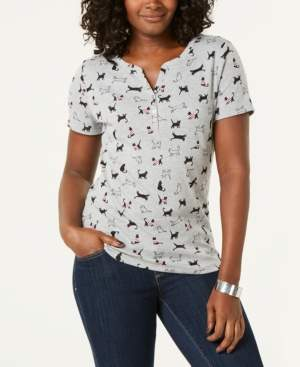 4e2ccb35 Karen Scott Printed Henley T-Shirt, Created for Macy's