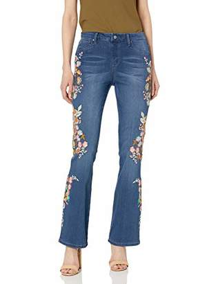 Laurie Felt Women's Silky Denim Embroidered Boot Cut Pull-On Jeans