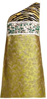 Prada Contrast Panel Asymmetric Neck Brocade Dress - Womens - Green Multi