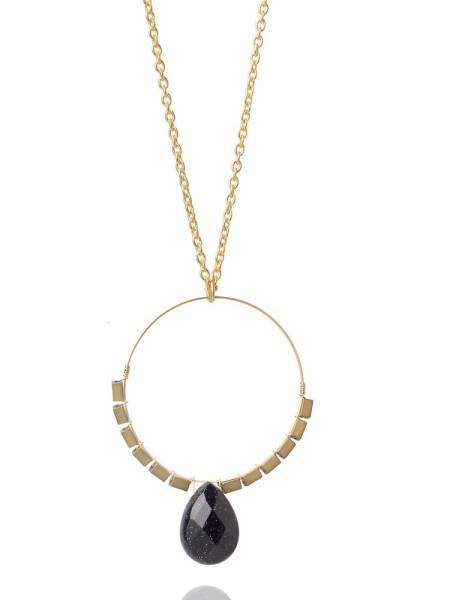Styleserver DE David Aubrey Lange Halskette mit Goldring und schwarzer Jade