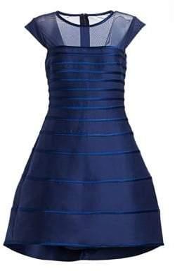 Halston Cap Sleeve Satin Stripe Cocktail Dress