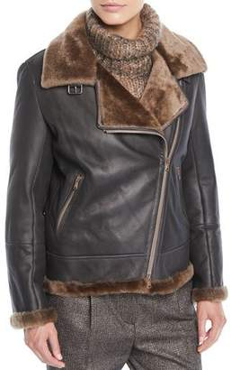 Brunello Cucinelli Zip-Front Shearling & Leather Moto Jacket w/ Monili Trim