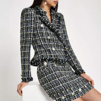 River Island Blue tweed double-breasted jacket