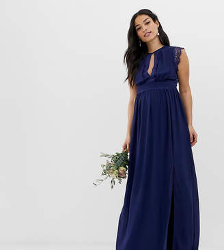 TFNC Maternity Maternity lace detail maxi bridesmaid dress in navy