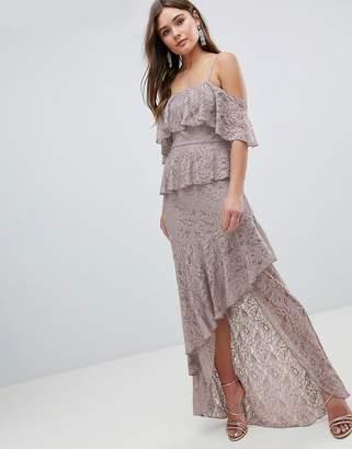 Asos Design Multi Layer Lace Ruffle Cami Maxi Dress