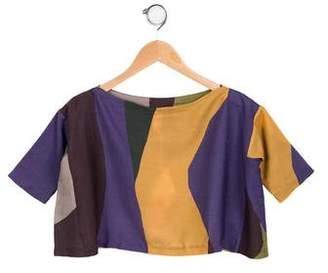 Tia Cibani Girl' Wool & Silk- Blend Coloblock Top w/ Tags