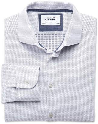 Charles Tyrwhitt Extra Slim Fit Semi-Spread Collar Business Casual White & Navy Blue Egyptian Cotton Dress Shirt Single Cuff Size 15/34