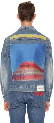 Calvin Klein Jeans Printed Cotton Denim Jacket W/ Patch